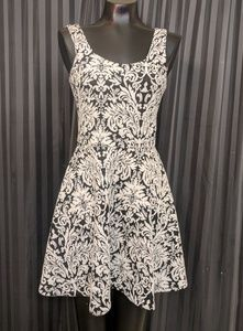 Black and White floral fit and flare dress